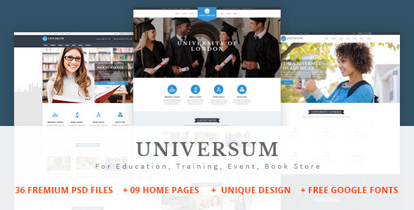 UNIVERSUM - Education, Event and Course PSD Template - Business Corporate