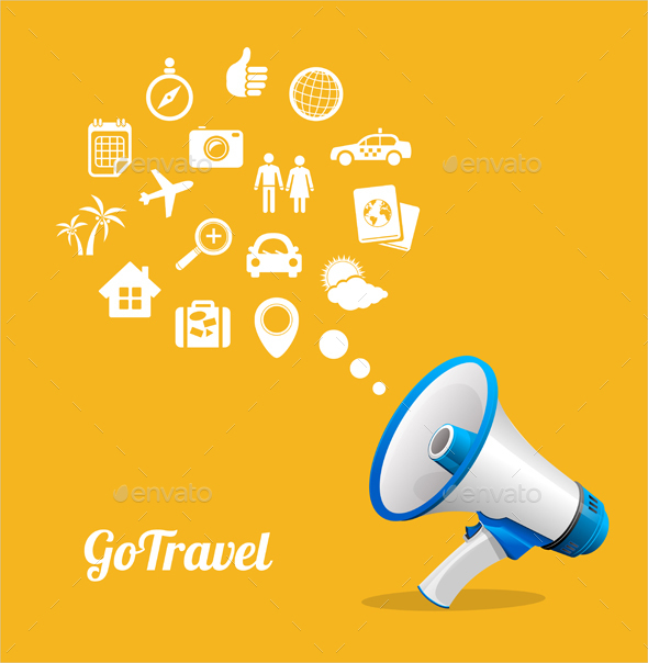 Megaphone and Icons Travel Concept - Travel Conceptual