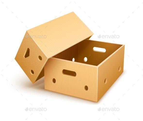 Empty Cardboard Box Tare for Fruits - Man-made Objects Objects