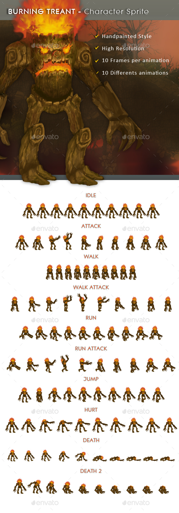 Burning Treant - Character Sprite - Sprites Game Assets