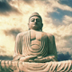 Sitting Buddha Statue With Dramatic Sky Timelapse - VideoHive Item for Sale