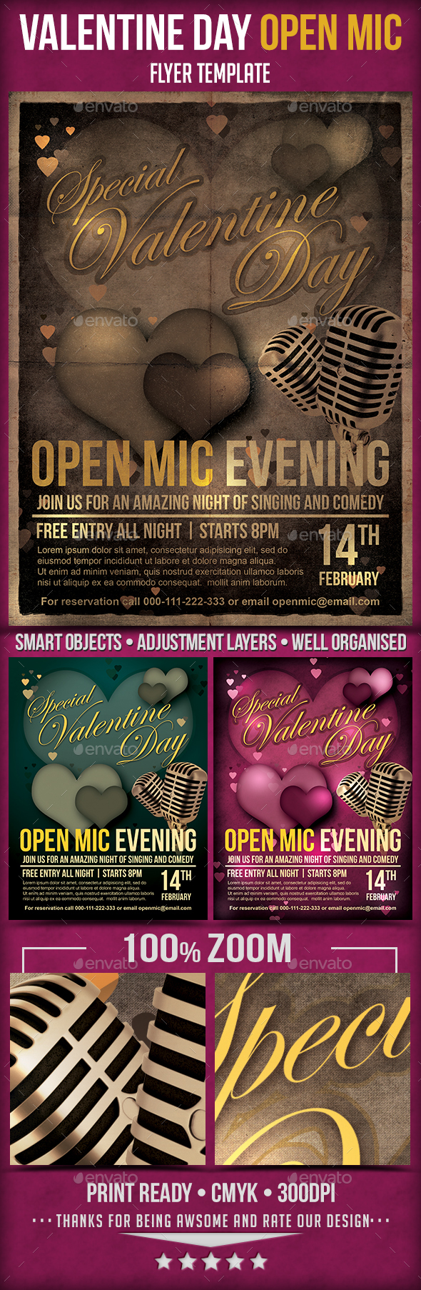Valentine Day Open Mic Flyer Template  - Holidays Events