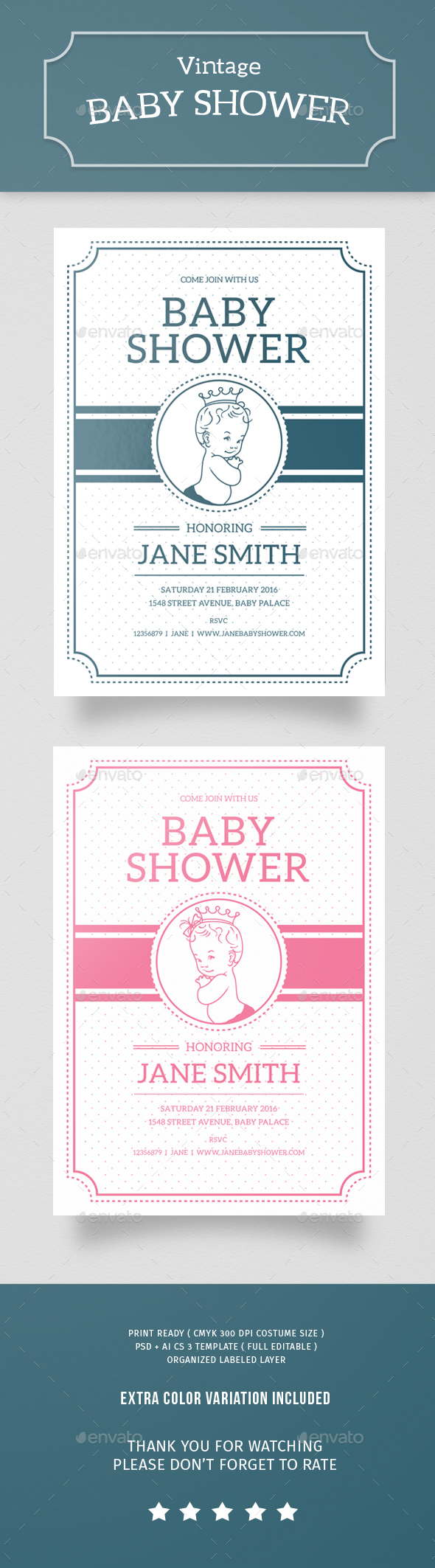 Vintage Baby Shower - Events Flyers