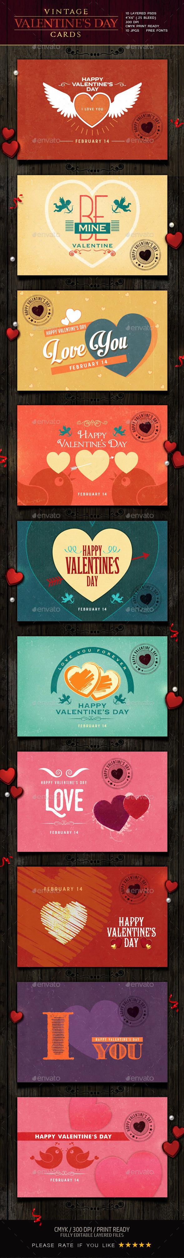 Retro / Vintage Valentine Cards - Cards & Invites Print Templates