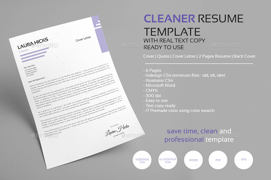 cleaner resume cv template by editorialmonster