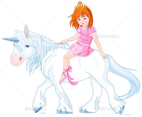 Princess on Unicorn - Characters Vectors