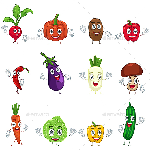 Vegetables in Characters - Organic Objects Objects