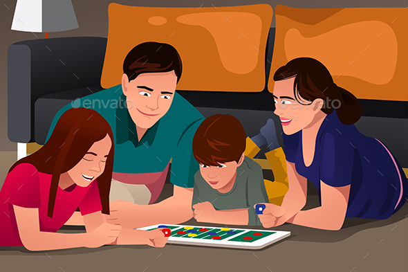 Family Playing a Board Game - People Characters