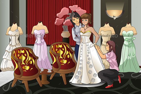 Bride Fitting Her Wedding Gown - People Characters