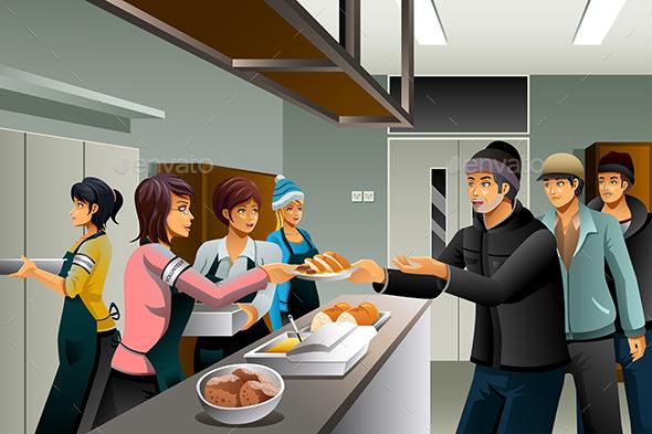 Volunteers Serving Food to Homeless People - People Characters
