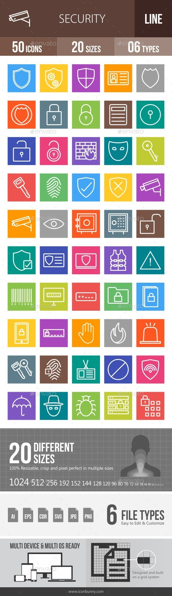 Security Line Multicolor Icons - Icons