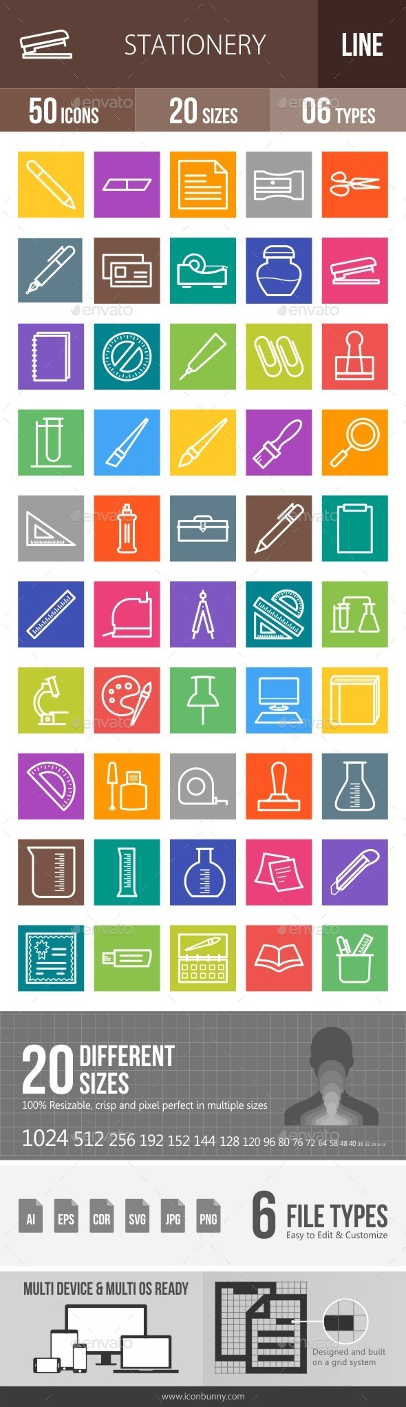Stationery Line Multicolor Icons - Icons