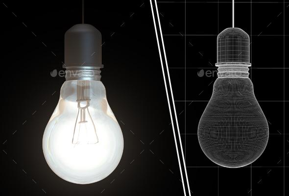 Old Glowing Lightbulb - Objects 3D Renders