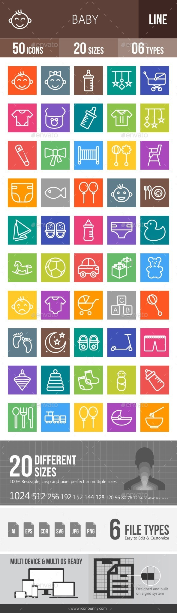 Baby Line Multicolor Icons - Icons