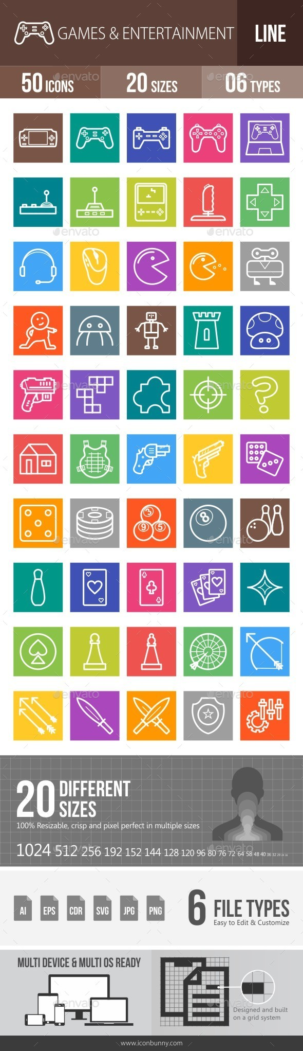 Games & Entertainment Line Multicolor Icons - Icons