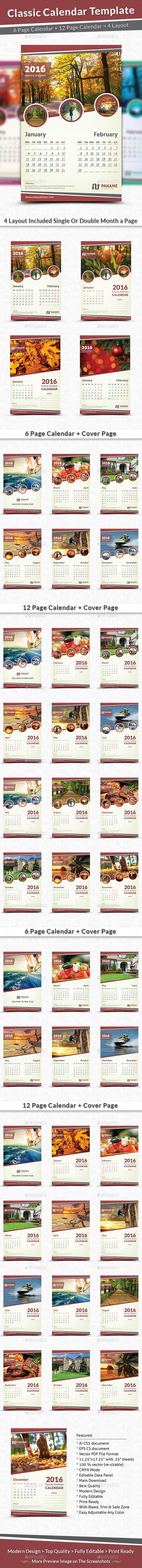 Classic Calendar Template 2016 - Calendars Stationery