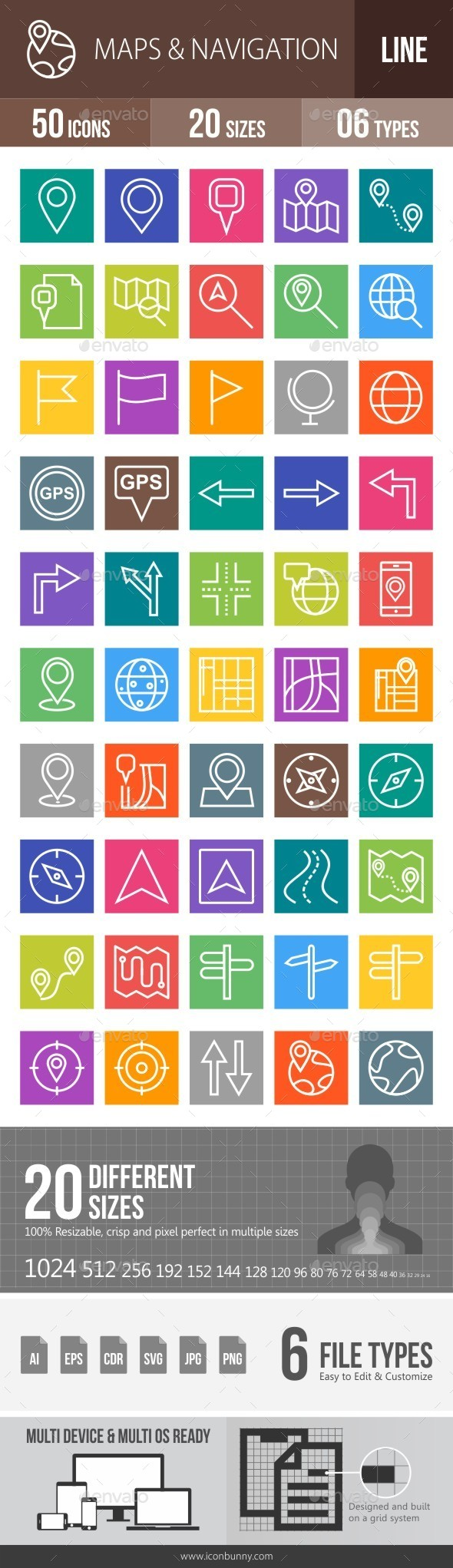 Maps & Navigation Line Multicolor Icons - Icons