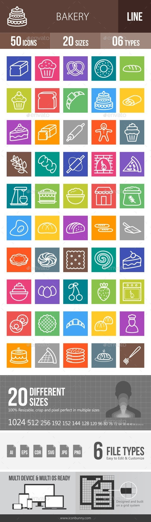 Bakery Line Multicolor Icons - Icons