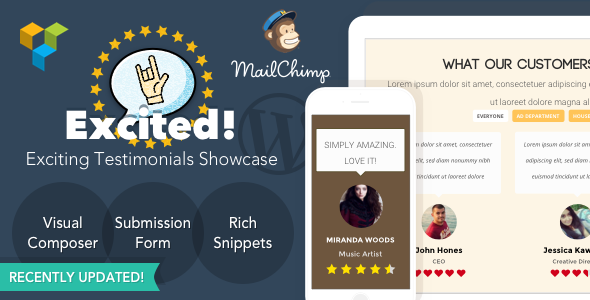 Testimonials Showcase for WordPress — Excited! - CodeCanyon Item for Sale