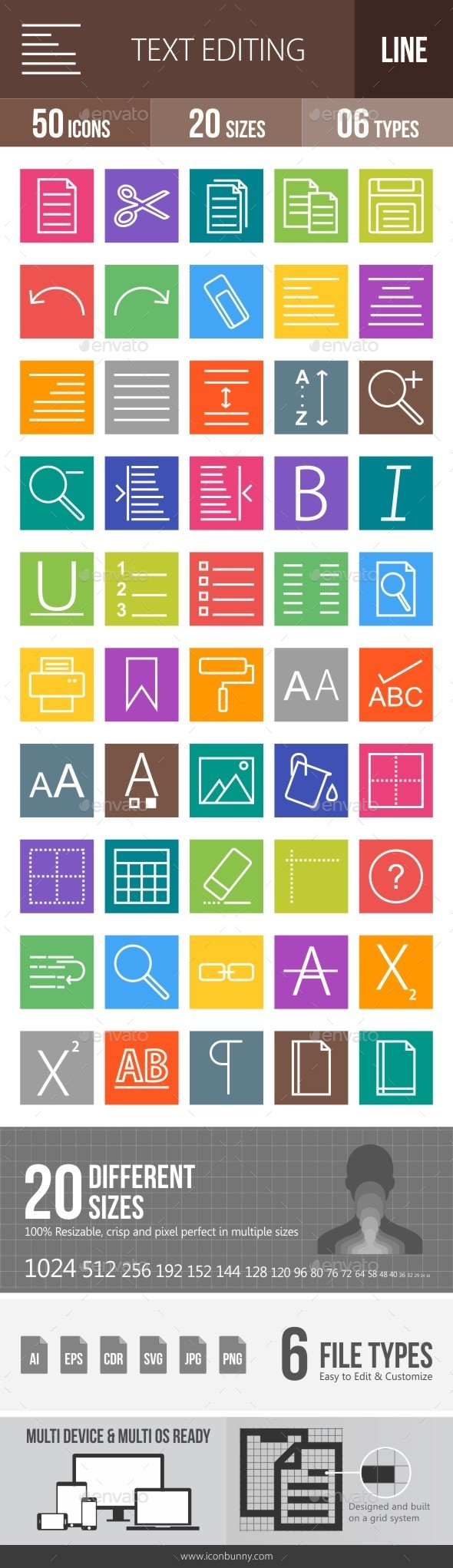Text Editing Line Multicolor Icons - Icons