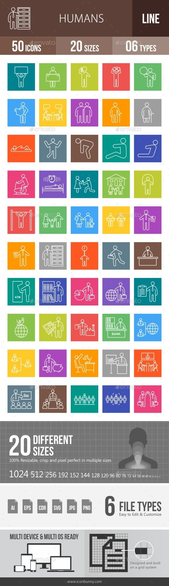 Humans Line Multicolor Icons - Icons