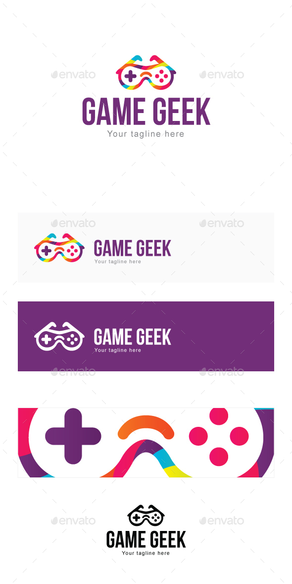 Game Geek - 3d Goggles with Remote Stock Logo Template for Blogs & Gadgets - Objects Logo Templates