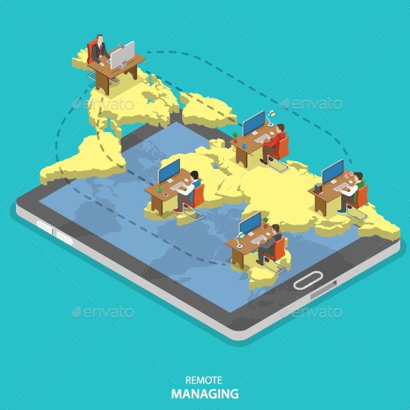 Remote Managing Isometric Flat Vector Concept.  - Concepts Business
