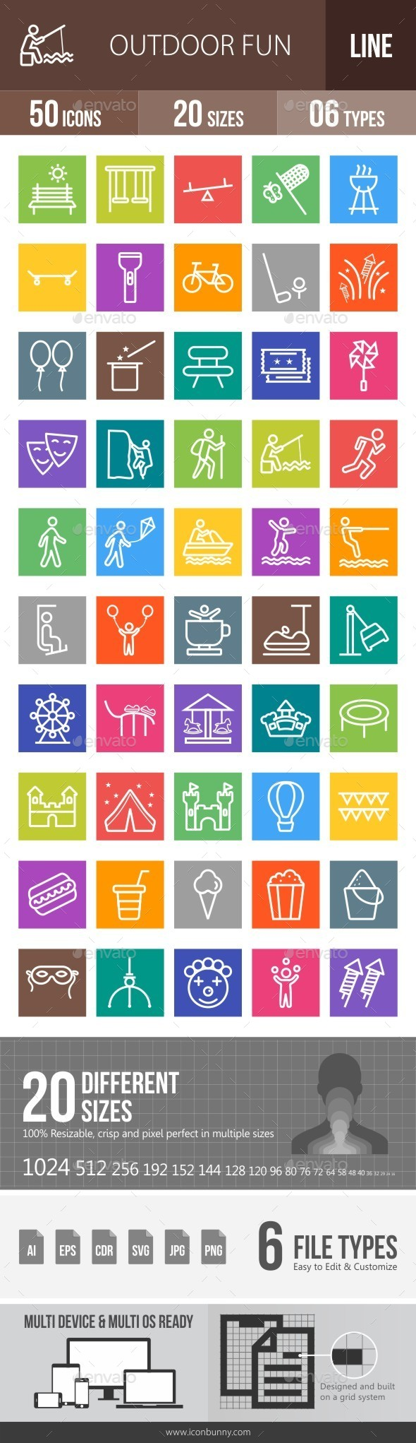 Outdoor Fun Line Multicolor Icons - Icons