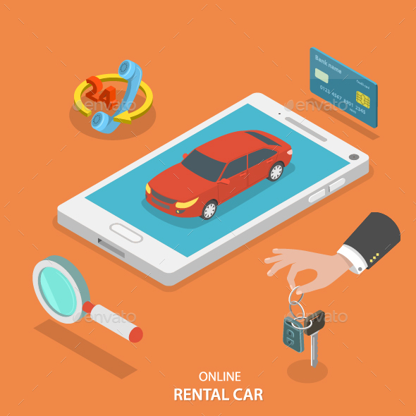 Online Rental Car Service Concept - Travel Conceptual