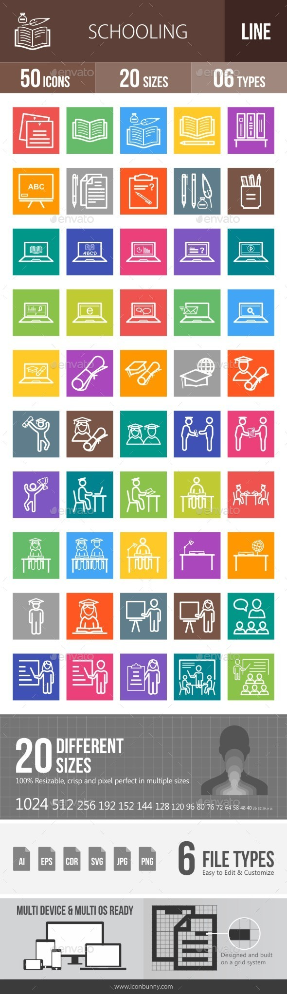 Schooling Line Multicolor Icons - Icons