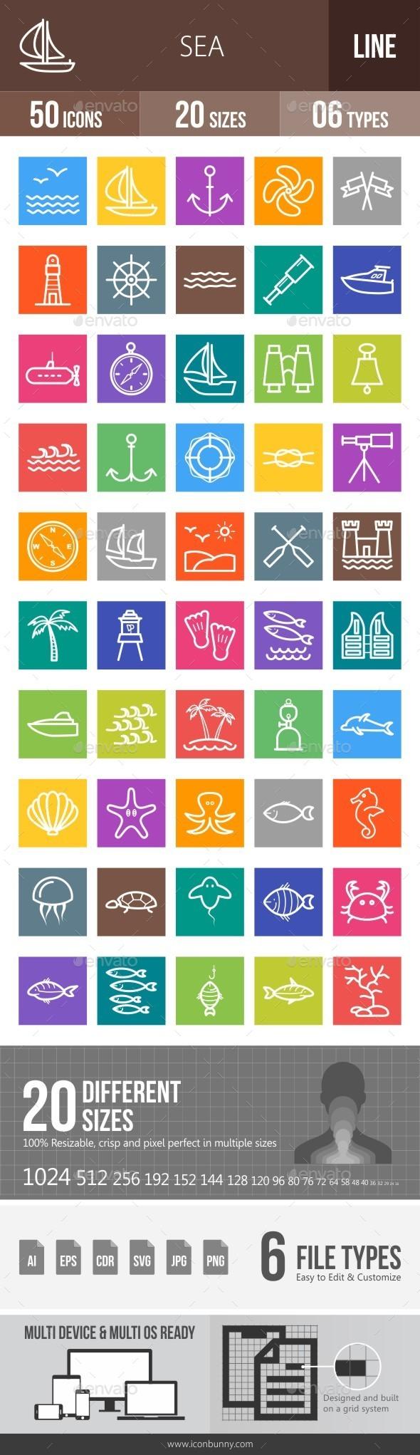 Sea Line Multicolor Icons - Icons