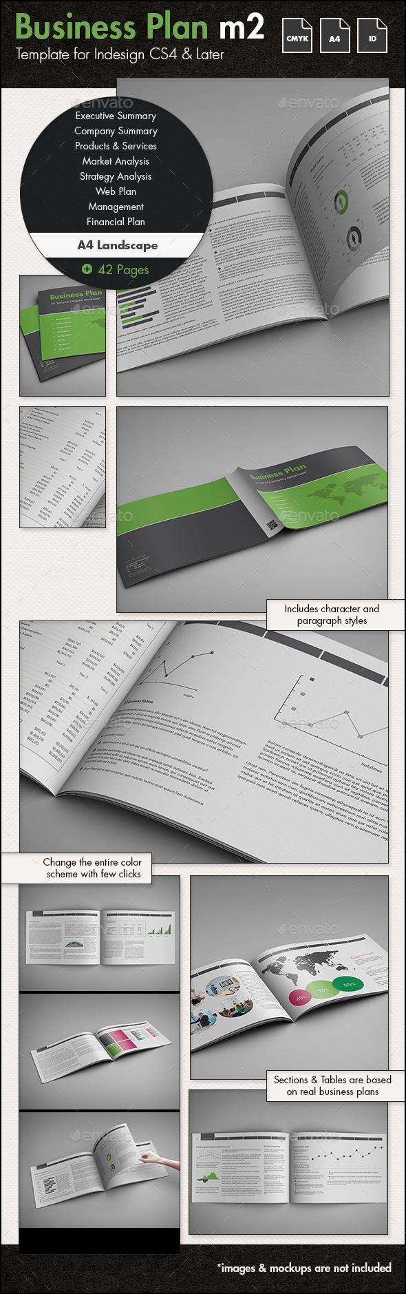 Business Plan Template m2 - A4 Landscape - Proposals & Invoices Stationery