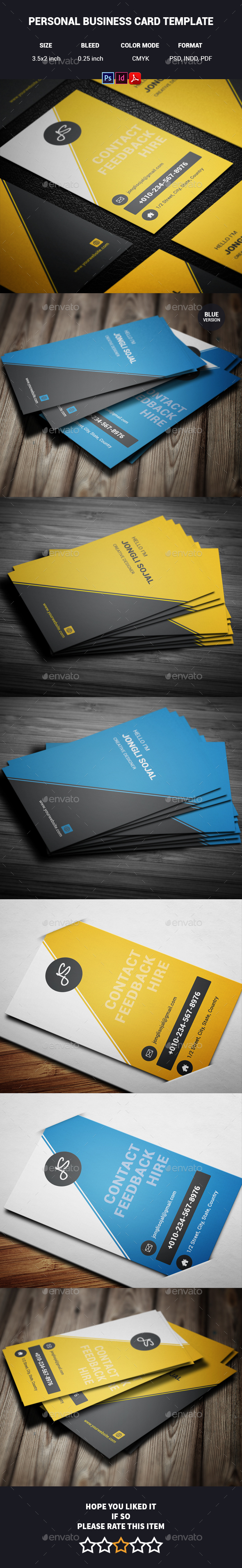Personal Business Card Template by Jongli