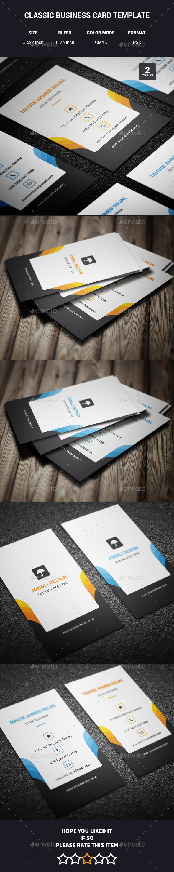 Classic Business Card Template - Corporate Business Cards