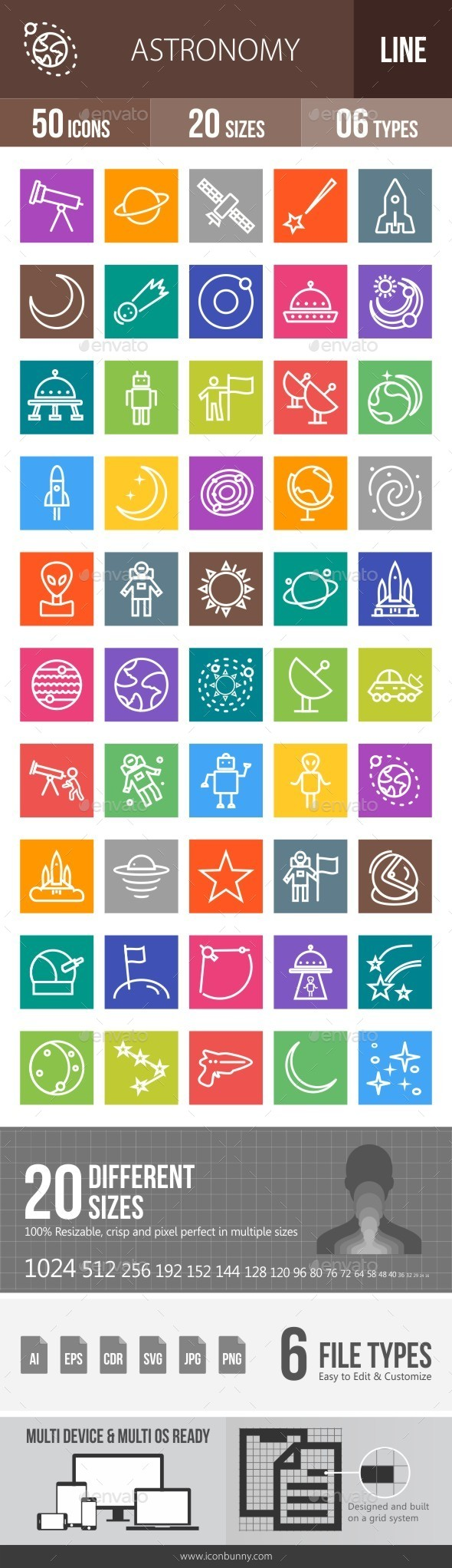 Astronomy Line Multicolor Icons - Icons