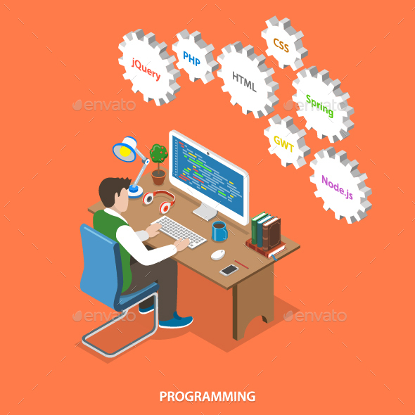 Programming Flat Isometric Vector Concept.  - Web Technology