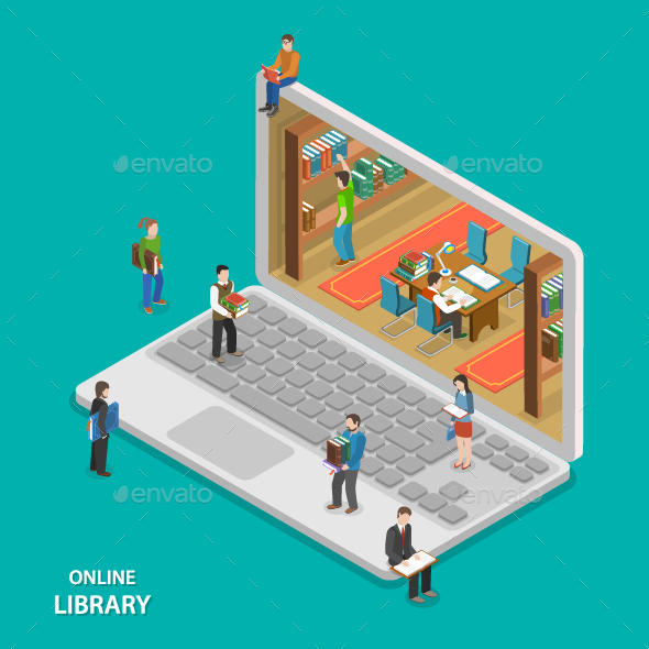 Online Library Flat Isometric Vector Concept.  - Computers Technology