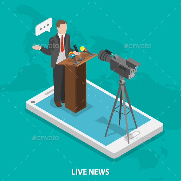 Live News Flat Isometric Concept - Media Technology