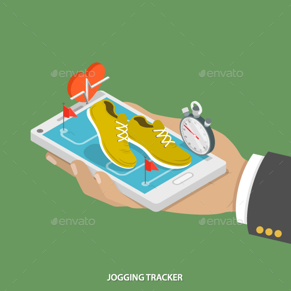 Jogging Tracker Flat Isometric Concept.  - Sports/Activity Conceptual