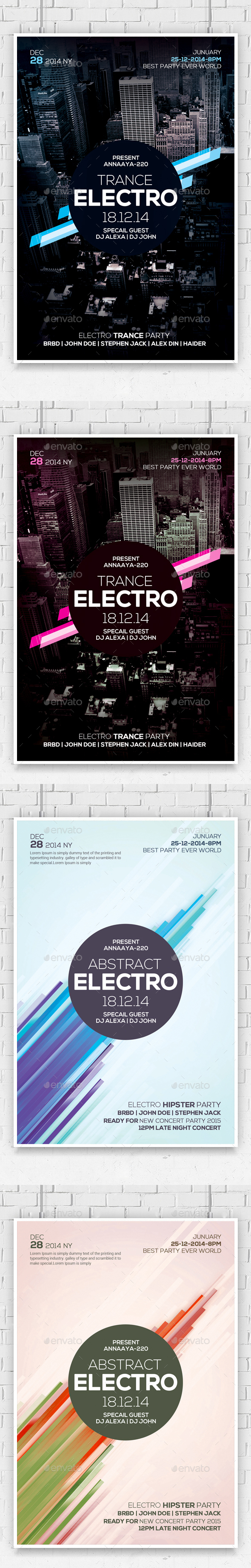 Abstract Flyers Bundle - Clubs & Parties Events