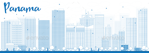 Outline Panama City Skyline with Blue Skyscrapers. - Buildings Objects