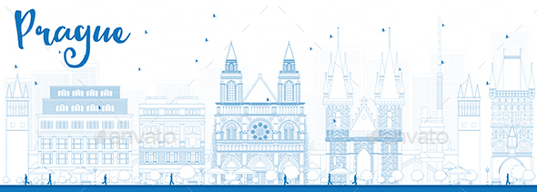 Outline Prague Skyline with Blue Landmarks. - Buildings Objects