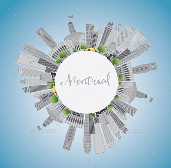 Montreal Skyline with Gray Buildings - Buildings Objects
