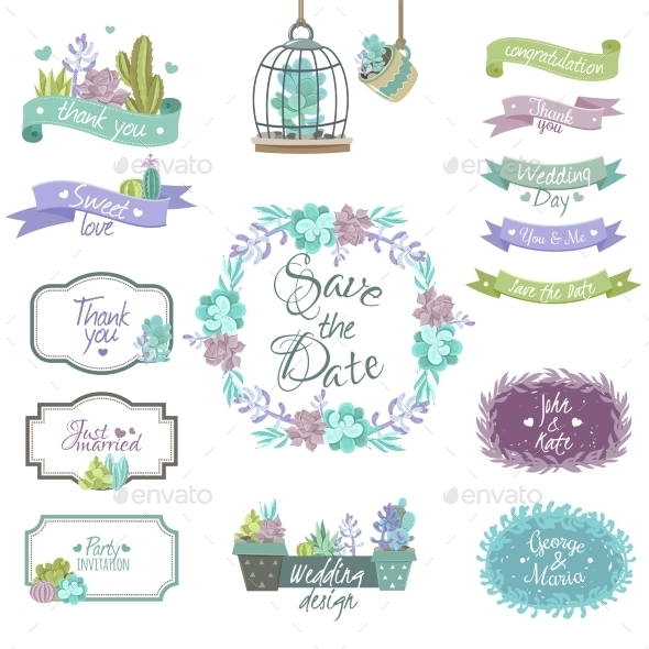 Cactus Design Elements Set - Miscellaneous Seasons/Holidays