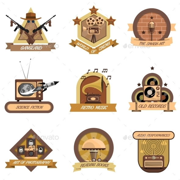 Retro Emblems Set - Man-made Objects Objects