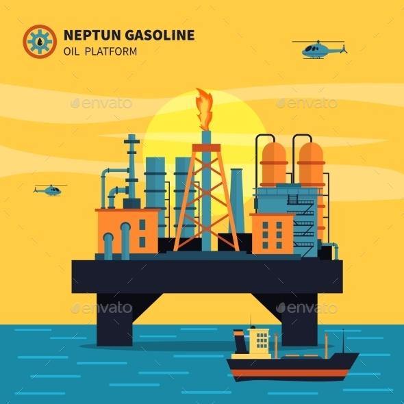 Oil Platform Illustration  - Industries Business