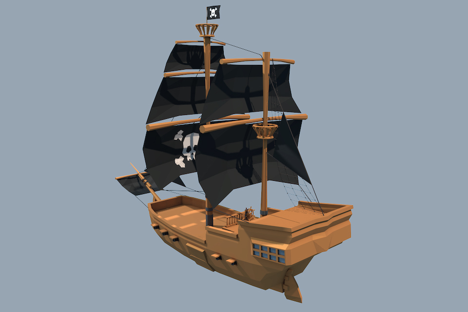 Low Poly Pirate Ship By Royalfx 3docean