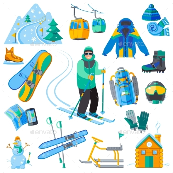 Ski Resort Icons - Seasons/Holidays Conceptual