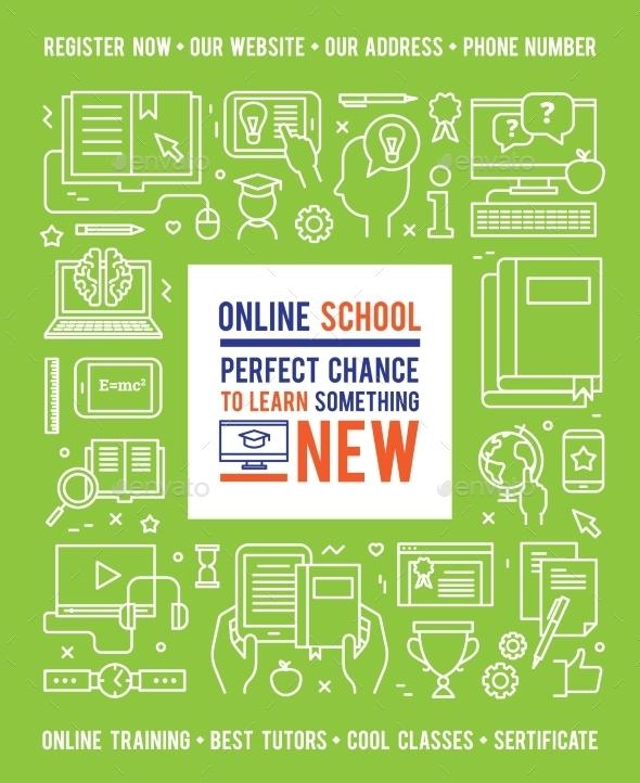 Online School Education Design Concept - Decorative Symbols Decorative