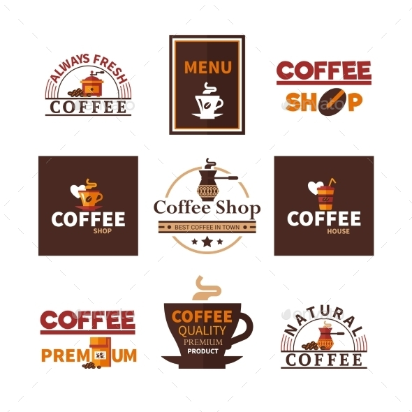 Coffee Shop Cafe Design Emblems Collection  - Business Conceptual